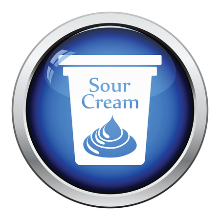 milk pail: Sour cream icon. Glossy button design. Vector illustration. Illustration