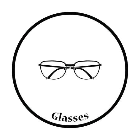 glasses icon: Glasses icon. Thin circle design. Vector illustration. Illustration