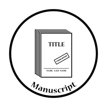 single story: Manuscript under review icon. Thin circle design. Vector illustration. Illustration