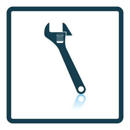 adjustable: Icon of adjustable wrench. Shadow reflection design. Vector illustration. Illustration