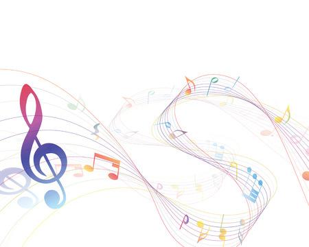 pentagrama musical: Diseño de los elementos musicales del personal de la música con Clave de sol y notas en gradiente de colores transparentes. Ilustración del vector.