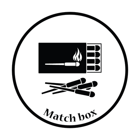 match box: Match box  icon. Thin circle design. Vector illustration. Illustration