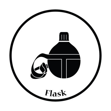 touristic: Touristic flask  icon. Thin circle design. Vector illustration. Illustration