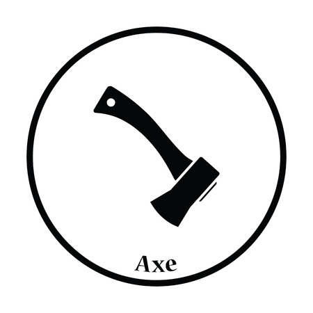 handtool: Camping axe  icon. Thin circle design. Vector illustration.