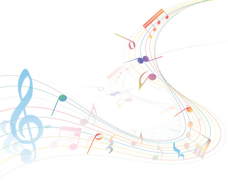 crotchets: Musical Design Elements From Music Staff With Treble Clef And Notes in gradient transparent Colors. Vector Illustration.