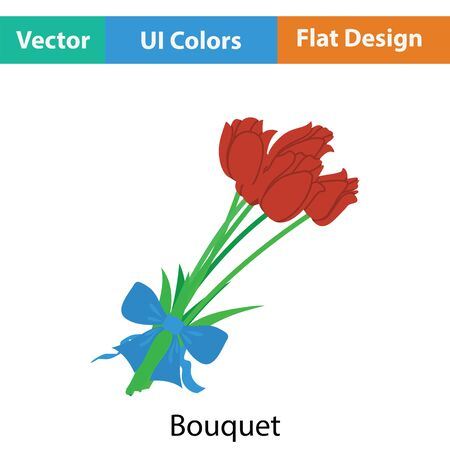 tied: Tulips bouquet icon with tied bow. Flat color design. Vector illustration.