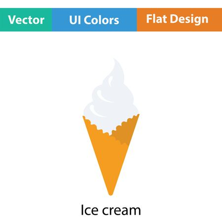 cream color: Ice cream icon. Flat color design. Vector illustration.