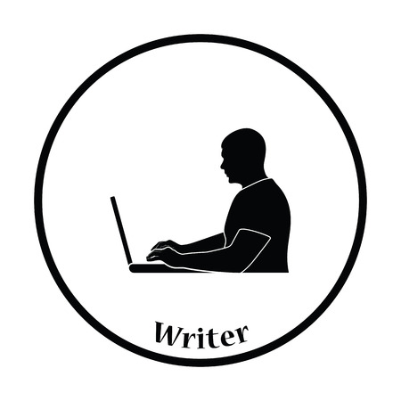 writer: Writer at the work icon. Thin circle design. Vector illustration.