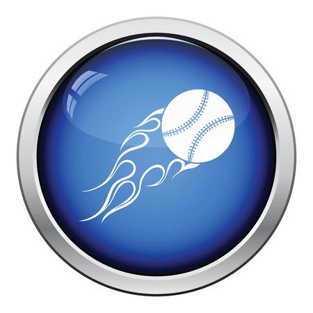 fire ball: Baseball fire ball icon. Glossy button design. Vector illustration. Illustration