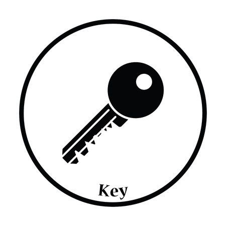 Icon of Key. Thin circle design. Vector illustration.