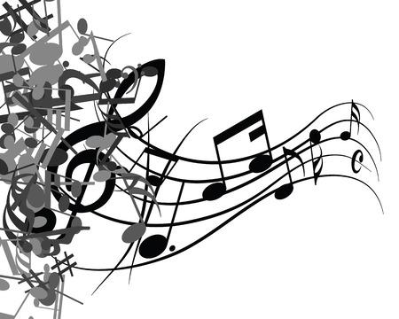 pentagrama musical: Diseño musical en blanco y negro a partir de elementos del personal de la música con clave de sol y notas. Aislados en blanco. Ilustración del vector.