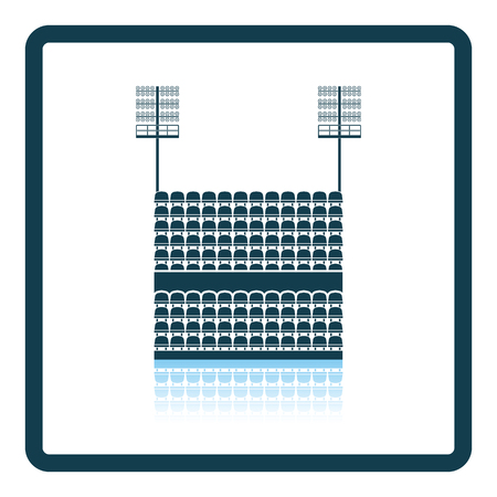 outdoor seating: Stadium tribune with seats and light mast icon. Shadow reflection design. Vector illustration.