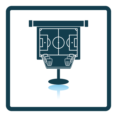 projection screen: Sport bar table with mugs of beer and football translation on projection screen icon. Shadow reflection design. Vector illustration. Illustration