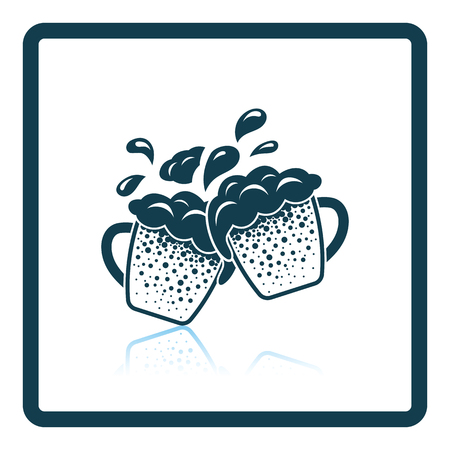 clinking: Two clinking beer mugs with fly off foam icon. Shadow reflection design. Vector illustration.