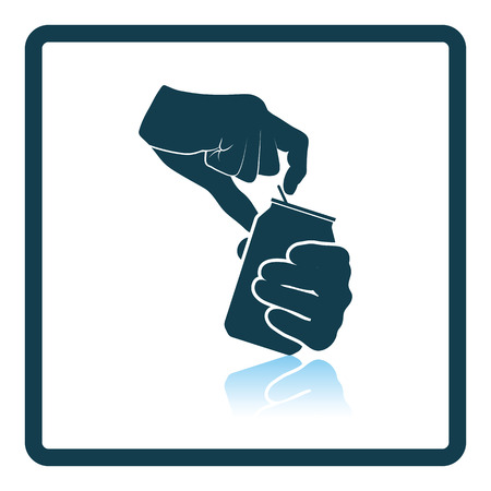 human hands: Human hands opening aluminum can icon. Shadow reflection design. Vector illustration.