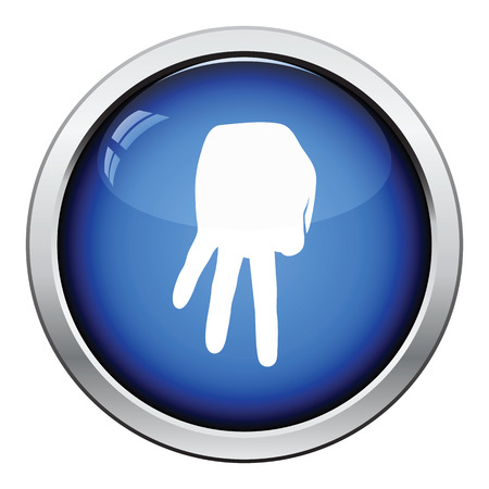 gloss: Baseball catcher gesture icon. Glossy button design. Vector illustration.
