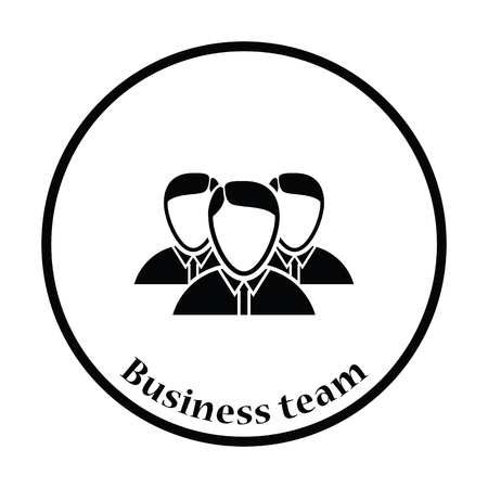 business team: Business team icon. Thin circle design. Vector illustration.