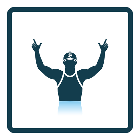 looker: Football fan with hands up icon. Shadow reflection design. Vector illustration.