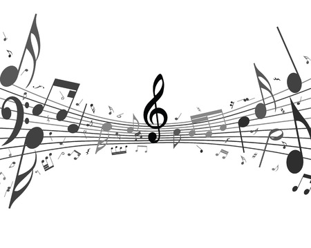 minim: Black and white musical design from music staff elements with treble clef and notes. Isolated on white. Vector illustration.