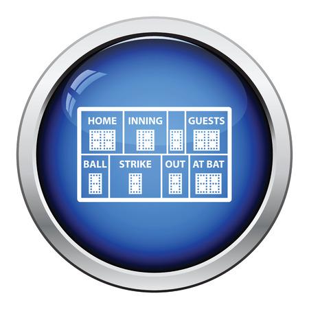 inning: Baseball scoreboard icon. Glossy button design. Vector illustration.