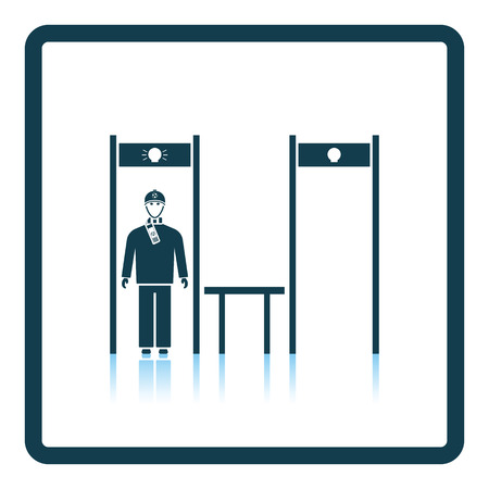 metal detector: Stadium metal detector frame with inspecting fan icon. Shadow reflection design. Vector illustration.