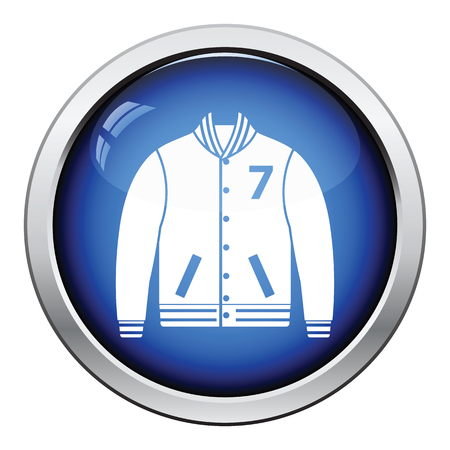 the varsity: Baseball jacket icon. Glossy button design. Vector illustration. Illustration