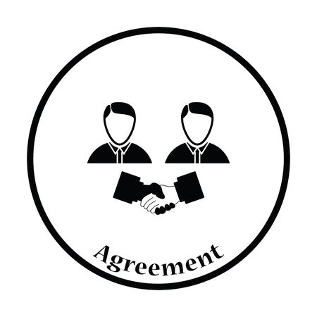 acknowledgment: Hand shake icon. Thin circle design. Vector illustration. Illustration