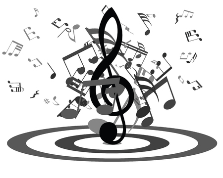 music staff: Black and white musical design from music staff elements with treble clef and notes. Isolated on white. Vector illustration.