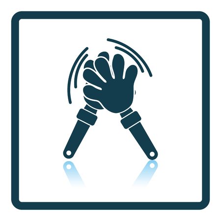 Football fans clap hand toy icon. Shadow reflection design. Vector illustration.