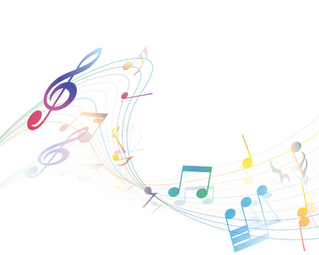 music staff: Musical Design Elements From Music Staff With Treble Clef And Notes in gradient transparent Colors. Vector Illustration.