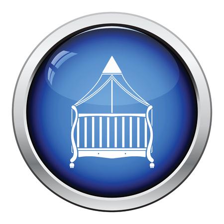 Cradle icon. Glossy button design. Vector illustration.