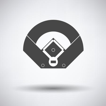 棒球场鸟瞰图图标在灰色背景,圆形阴影。矢量插图。