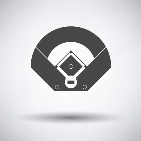 outfield: Baseball field aerial view icon on gray background, round shadow. Vector illustration.