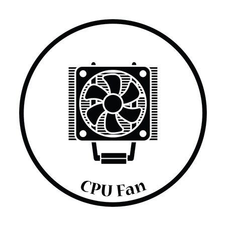 heat sink: CPU Fan icon. Flat color design. Vector illustration. Thin circle design. Vector illustration.
