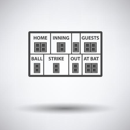 ballpark: Baseball scoreboard icon on gray background, round shadow. Vector illustration.