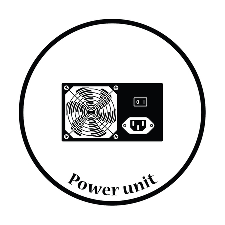 psu: Power unit icon. Flat color design. Vector illustration. Thin circle design. Vector illustration.