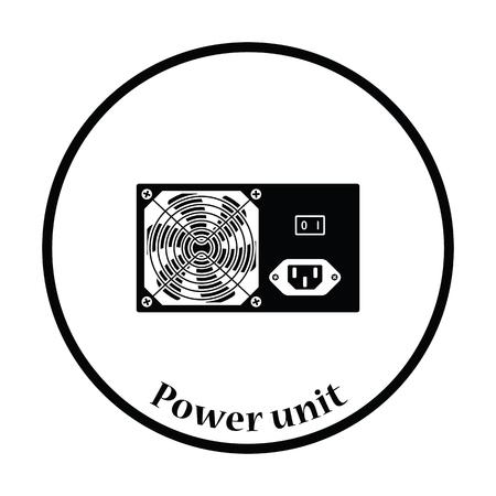 psu: Power unit icon. Flat color design. Vector illustration. Thin circle design. Vector illustration.