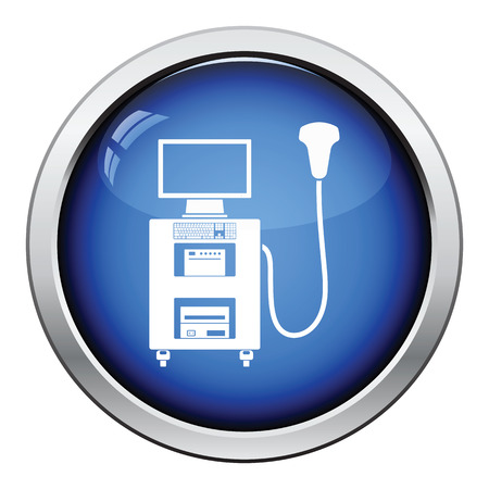 belly button: Ultrasound diagnostic machine icon. Glossy button design. Vector illustration. Illustration