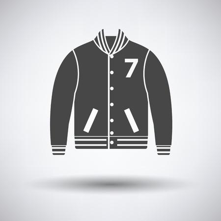 the varsity: Baseball jacket icon on gray background, round shadow. Vector illustration.