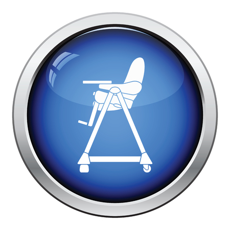 movable: Baby high chair icon. Glossy button design. Vector illustration.