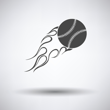 fire ball: Baseball fire ball icon on gray background, round shadow. Vector illustration.