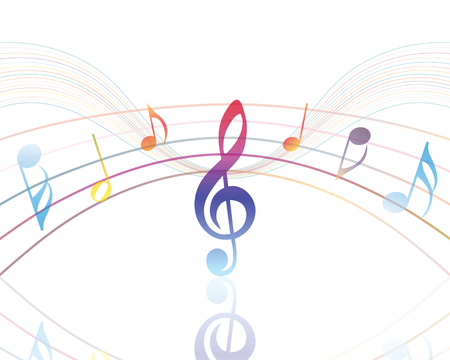 Diseño de los elementos musicales del personal de la música con Clave de sol y notas en gradiente de colores transparentes. Ilustración del vector.