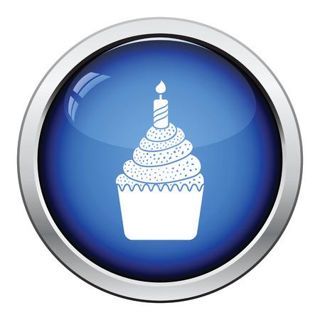 first birthday: First birthday cake icon. Glossy button design. Vector illustration.