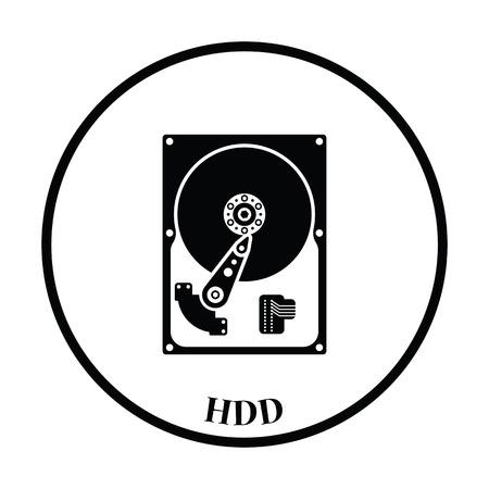 sata: HDD icon. Flat color design. Vector illustration. Thin circle design. Vector illustration.