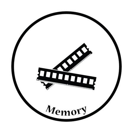random access memory: Computer memory icon. Flat color design. Vector illustration. Thin circle design. Vector illustration.
