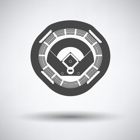 ballpark: Baseball stadium icon on gray background, round shadow. Vector illustration. Illustration