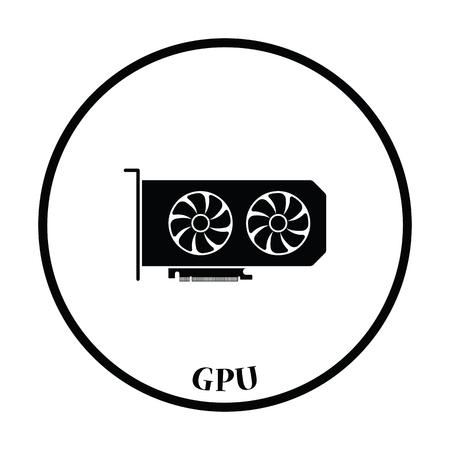 dvi: GPU icon. Flat color design. Vector illustration. Thin circle design. Vector illustration. Illustration