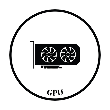 expansion card: GPU icon. Flat color design. Vector illustration. Thin circle design. Vector illustration. Illustration