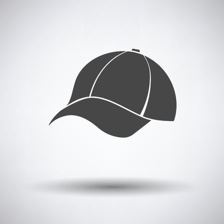 Baseball cap icon on gray background, round shadow. Vector illustration.