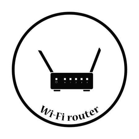 adsl: WiFi router icon. Flat color design. Vector illustration. Thin circle design. Vector illustration.
